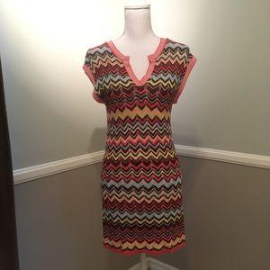 $198 BCBGMAXAZRIA Zig zag knit dress XS EUC